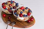 Food. Fruit salad with cherries, blueberry, muesli, yogurt
