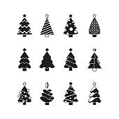 Christmas tree icon. Nature celebration symbols trees decorated with gifts and toys stylized silhouettes vector set
