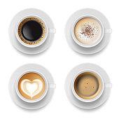 Coffee cup top. Hot milk espresso latte breakfast tea time vector realistic template