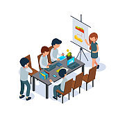 Business coaching. Conference hall person speak and pointing at flip chart managers 3d sitting at table vector isometric