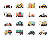 Transport flat icons. Urban vehicles cars buses airplane fuel transportation vector colored symbols
