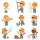 Little builders. Childrens with construction tools making job working builders in yellow helmet vector characters