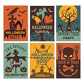Halloween cards. Greeting cards invitation to horror scary evil halloween party vector design template