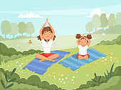 Family yoga. Mother and daughter making exercises outdoor in the park yoga fitness training skills vector cartoon background