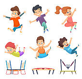 Trampoline kids. Playground childrens active jumping games vector characters in cartoon style
