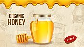 Farm honey. Ad placard template with realistic honey, healthy organic food farm products packaging background