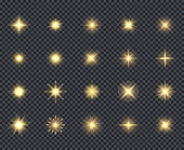 Glowing stars icon. Celebration effects beautiful sparks lighting rays vector realistic icons collection