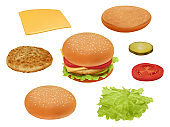 Hamburgher. Realistic fast food ingredients vegetables tomato beef meal salad delicious food vector constructor