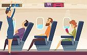 Passengers airplane. Stewardess avia service tourism aviation vector cartoon background