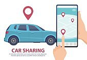 Car sharing. Rent car online mobile app web page concept. Vector find vehicle on map illustration. Blue automobile, smartphone, hands