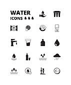 Water drops icon. Refreshing liquids recycling rain plastic bottles with fresh drinks splashes cooler vector symbols set