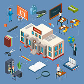 High school isometric vector illustration. 3D school building, classroom, teachers, books, stationery