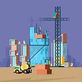 Construction flat. Vector low poly buildings production house builder landscape vector picture