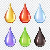 Colored drops. Splashes of paint liquid realistic vector illustrations water drops
