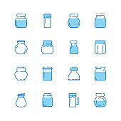 Bottles line icon. Jar packaged with healthy food jam products glass bottles vector symbols