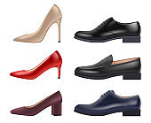 Shoes realistic. Lady evening elegant luxury shoes different style and colors for storefront vector collection