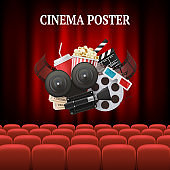 Movie chairs background. Red set cinema movie premier theater curtain concept vector background illustration