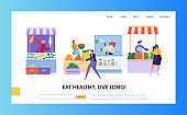 Fresh Food Farmer Organic Market Concept Landing Page. Man Customer Character Choose Vegetable Fruit Fish Seafood Website or Web Page. Healthy Ecomarket Flat Cartoon Vector Illustration