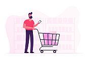 Customer Stand in Grocery or Supermarket with Goods in Shopping Trolley Holding Smartphone in Hand. Man Visiting Store for Products Purchases. Sale, Consumerism Cartoon Flat Vector Illustration