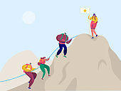 People Climb Rock Mountain to Victory Flag. Sport Adventure Challenge Aim for Climber Character with Backpack. Alpinist Trekking to Target Peak Everest Flat Cartoon Vector Illustration