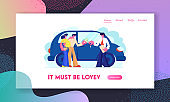 Customers Buying Automobile Giving Money to Dealer Website Landing Page. Salesman Give Key to New Owner. Happy Young Family Buying Car in Auto Salon, Web Page. Cartoon Flat Vector Illustration, Banner