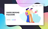 Customers Buying Automobile Holding Money in Hands. Young Couple Man and Pregnant Woman Characters Buy New Car, Happy Purchase, Website Landing Page, Web Page. Cartoon Flat Vector Illustration, Banner