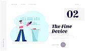 Electronics Store Retail Gadgets Business Website Landing Page. Sales Manager in Mobile Phone Shop Presenting Smartphone Model Near Modern Cash Desk Web Page Banner. Cartoon Flat Vector Illustration
