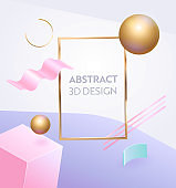 Abstract Geometric Figure Frame 3d Banner. Digital Graphic Background Gradient for Advertising Marketing Poster. Dynamic Sale Sign with Modern Creative Pink Decoration Vector Illustration