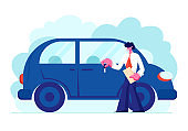 Dealer Stand Near New Car in Showroom. Salesman Holding Key and Paper Documents of Automobile in Auto Salon, Sale , Rent Business of New and Second-hand Vehicles, Cartoon Flat Vector Illustration