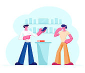 Shop Assistant Showing Smartphone in Hand to Customer Standing at Counter Desk. Man Buying New Cell Phone at Electronics Store. Retail Business, Gadgets Purchase. Cartoon Flat Vector Illustration