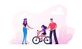 Parents Teaching Child Riding Bicycle in City Park. Happy Family Having Outdoors Activity Spending Time Together on Street. Mother Father and Little Daughter Weekend Cartoon Flat Vector Illustration