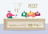 Butchery Store Keeper Stand at Local Meat Product. Butcher Grocery Retail Business Supermarket Owner sell Organic Farm Pork Meat. Protein Salesman Farmer Flat Vector Cartoon Illustration
