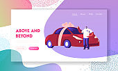Automobile Purchase Website Landing Page. Man Buyer or Seller Holding Keys in Hand Standing near New Car Wrapped with Bow. Customer or Salesman Deal Web Page Banner. Cartoon Flat Vector Illustration
