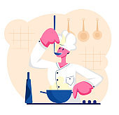 Man Chef in White Uniform and Cap Tasting Delicious Soup with Ladle on Kitchen. Professional Cooker Prepare Meal, Male Character Cooking, Restaurant Staff, Hospitality Cartoon Flat Vector Illustration