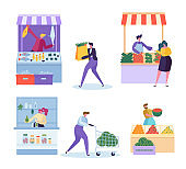 Local Organic Food Market Character Set. Vegetable Farm Store. Man Customer Buy Grocery and Seafood in Small Eco Mart. Healthy Fruit Farmer Salesman Concept Flat Cartoon Vector Illustration