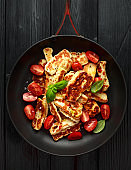 Pan-seared halloumi cheese and sweet cherry tomatoes salad