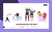 Jeweler Seller Hold Gem Landing Page. Woman Character Choose Luxury Diamond Ring at Store. Jewelry Industry Concept Website or Web Page. Wedding Symbol Flat Cartoon Vector Illustration