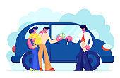 Customers Buying Automobile Giving Money to Dealer. Salesman Give Key to New Owner. Young Family Couple of Man and Pregnant Woman Buy Car in Auto Salon, Happy Purchase Cartoon Flat Vector Illustration