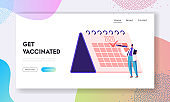 Vaccination Planning, Medicine Health Care Website Landing Page. Female Doctor Put Check Mark to Checkbox on Huge Calendar on 2020 Year, Immunization Web Page Banner. Cartoon Flat Vector Illustration