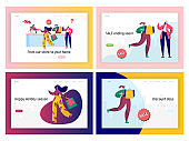 Offline Shopping Sale Promotion Landing Page Set. Digital Ecommerce Black Friday Crazy Discount Offer. Woman Character in Fashion Store Concept for Website or Web Page Flat Cartoon Vector Illustration