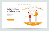Couple of people. Christmas landing page, vector illustration EPS 10 isolated
