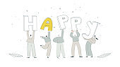 Flat people carry big letters. People celebrate success EPS 10