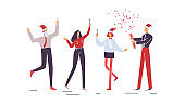 Christmas corporate party with sparklers. Holiday vector illustration isolated