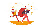 Businessman carries presents. Christmas landing page, vector illustration isolated