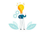 Man with lamp instead of head generates ideas. vector illustration EPS 10