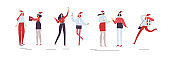Women set. Christmas corporate party. Holiday vector illustration isolated