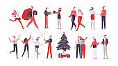 Set of workers. Christmas corporate party. Holiday vector illustration isolated