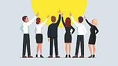 Business men and women group standing back to viewer and pointing up. Businessman and woman team pointing upwards together. Flat vector character illustration