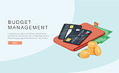 Budget management concept in isometric vector illustration. Money economy background with billfold Profit or revenue