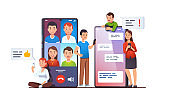 Modern mobile communication concept. Video group conference call and messaging apps on phone screens next to people using cellphones texting and talking online. Flat vector illustration